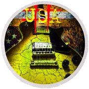 Round Beach Towel featuring the photograph Relic Guitar Music Patriotic Usa Flag by Guitar Wacky