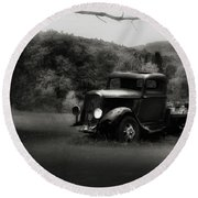 Round Beach Towel featuring the photograph Relic Truck by Bill Wakeley