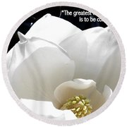 Relief 2, With Quote.  Round Beach Towel
