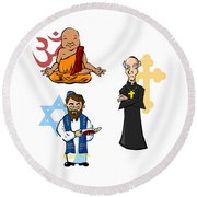 Religious Icons Round Beach Towel