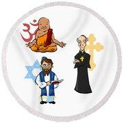Religious Icons Round Beach Towel