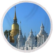 Wat Suan Dok Reliquaries Of Northern Thai Royalty Dthcm0947  Round Beach Towel by Gerry Gantt