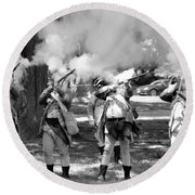 Reliving History-bw Round Beach Towel