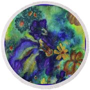 Remember The Flowers Round Beach Towel by Donna Blackhall