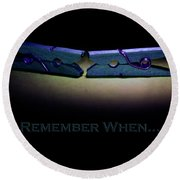 Round Beach Towel featuring the photograph Remember When Blue Clothes Pins Card by Lesa Fine