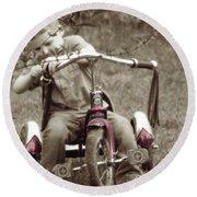 Remember When Trike Tassels Round Beach Towel by Lesa Fine