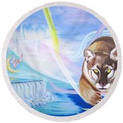 Round Beach Towel featuring the painting Remembering Childhood Dreams by Phyllis Kaltenbach
