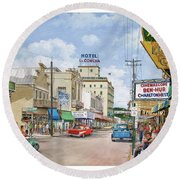 Remembering Duval St. Round Beach Towel