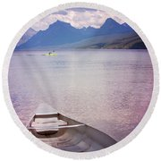 Round Beach Towel featuring the photograph Remembering Lake Mcdonald by Heidi Hermes