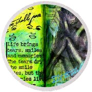 Remembering My Son -  Art Journal Entry Round Beach Towel