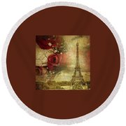 Remembering Paris Round Beach Towel