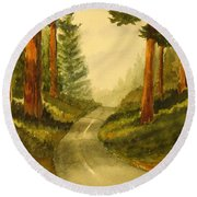 Remembering Redwoods Round Beach Towel by Marilyn Jacobson