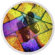 Round Beach Towel featuring the photograph Remembering Yellow Brick Road by Ronda Broatch