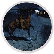 Remington Frederic An Arguement With The Town Marshall Round Beach Towel