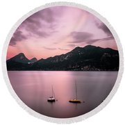 Reminiscence Is A Red Sky Round Beach Towel