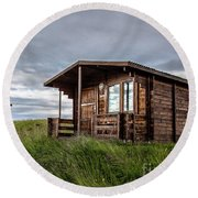 Round Beach Towel featuring the photograph Remote Cabins Myvatn Iceland by Edward Fielding
