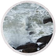 Round Beach Towel featuring the photograph Remous Sur Falaise by Marc Philippe Joly