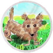 Remy, Laird Of The Cairn Round Beach Towel
