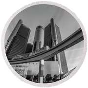 Renaissance Center And People Mover Round Beach Towel