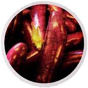 Renaissance Chinese Eggplant Round Beach Towel