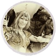 Round Beach Towel featuring the photograph Renaissance Festival Barbarians by Bob Christopher