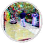 Round Beach Towel featuring the photograph Renaissance Slide - Red-cyan 3d Glasses Required by Brian Wallace