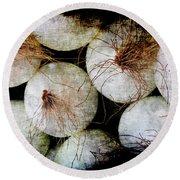 Renaissance White Onions Round Beach Towel