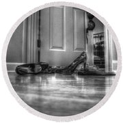 Rendezvous Do Not Disturb 05 Bw Round Beach Towel