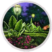 Round Beach Towel featuring the painting Rendezvous In The Park by Michael Frank