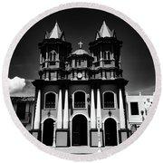 Replica Church In El Penol Round Beach Towel