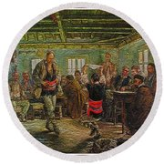 Round Beach Towel featuring the painting replica of Ruchenitsa by Nikola Tanev by Pemaro
