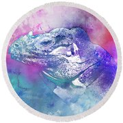 Round Beach Towel featuring the mixed media Reptile Profile by Jutta Maria Pusl