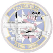 Republic A-10 Thunderbolt II Round Beach Towel by Arthur Eggers