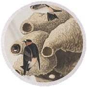 Republican Or Cliff Swallow Round Beach Towel by John James Audubon