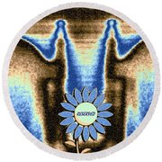 Round Beach Towel featuring the mixed media Reserved by Will Borden