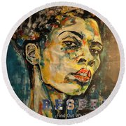Respect Mixed Media Round Beach Towel