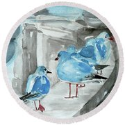 Round Beach Towel featuring the painting Rest By The Sea by Jasna Dragun