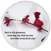 Rest In His Presence Round Beach Towel
