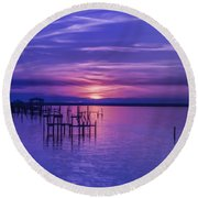 Rest Well World Sunset Round Beach Towel