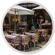 Restaurant On Rue Pairoliere In Nice Round Beach Towel
