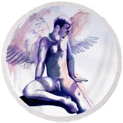 Resting Angel Round Beach Towel