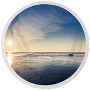 Round Beach Towel featuring the photograph resting at the Watten Sea by Hannes Cmarits