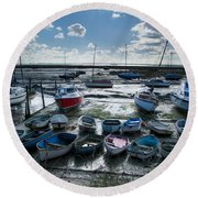 Resting Boats Round Beach Towel