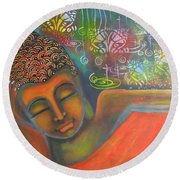 Buddha Resting Against A Colorful Backdrop Round Beach Towel