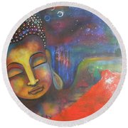 Buddha Resting Under The Full Moon  Round Beach Towel