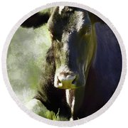 Resting Cow Round Beach Towel