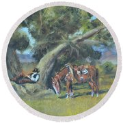 Resting Cowboy Painting A Study Round Beach Towel