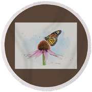 Resting Monarch Round Beach Towel