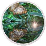 Resting On River's Edge Round Beach Towel by Lilliana Mendez
