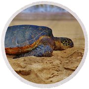 Resting On The Beach Round Beach Towel by Craig Wood